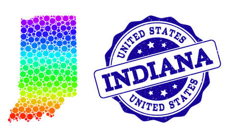 Dot spectrum map of Indiana State and blue grunge round stamp seal. Vector geographic map in bright spectrum gradient colors on a white background.