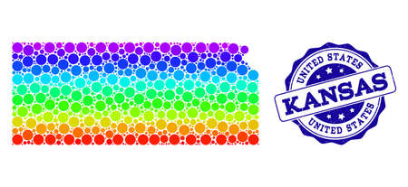 Dotted spectrum map of Kansas State and blue grunge round stamp seal. Vector geographic map in bright spectrum gradient colors on a white background.