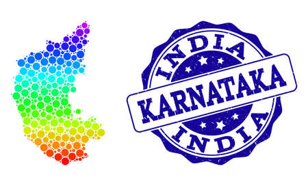 Dot spectrum map of Karnataka State and blue grunge round stamp seal. Vector geographic map in bright spectrum gradient colors on a white background.