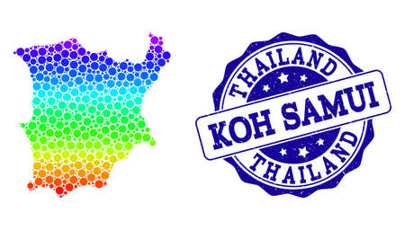 Dotted rainbow map of Koh Samui and blue grunge round stamp seal. Vector geographic map in bright rainbow gradient colors on a white background.