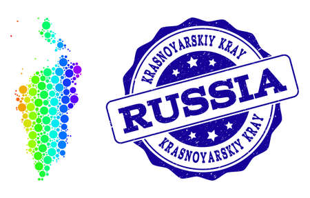 Dotted rainbow map of Krasnoyarskiy Kray and blue grunge round stamp seal. Vector geographic map in bright rainbow gradient colors on a white background.