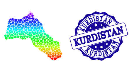 Dot spectrum map of Kurdistan and blue grunge round stamp seal. Vector geographic map in bright spectrum gradient colors on a white background.