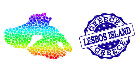 Dot spectrum map of Lesbos Island and blue grunge round stamp seal. Vector geographic map in bright spectrum gradient colors on a white background.