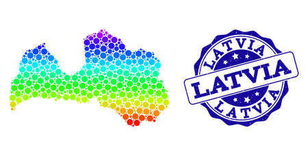 Dot rainbow map of Latvia and blue grunge round stamp seal. Vector geographic map in bright rainbow gradient colors on a white background.