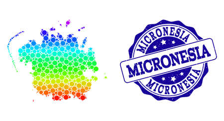 Dotted spectrum map of Micronesia island and blue grunge round stamp seal. Vector geographic map in bright spectrum gradient colors on a white background.