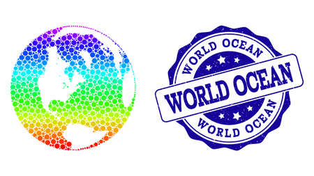 Dot spectrum map of global ocean and blue grunge round stamp seal. Vector geographic map in bright spectrum gradient colors on a white background.