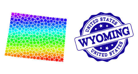 Dot spectrum map of Wyoming State and blue grunge round stamp seal. Vector geographic map in bright spectrum gradient colors on a white background.