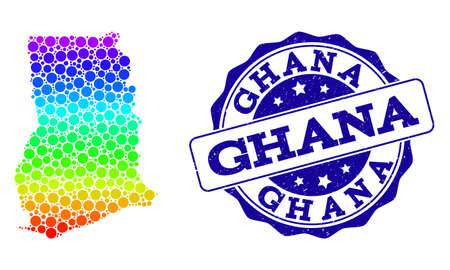 Dotted spectrum map of Ghana and blue grunge round stamp seal. Vector geographic map in bright spectrum gradient colors on a white background.