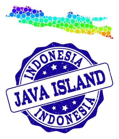Dotted spectrum map of Java Island and blue grunge round stamp seal. Vector geographic map in bright spectrum gradient colors on a white background. Vetores