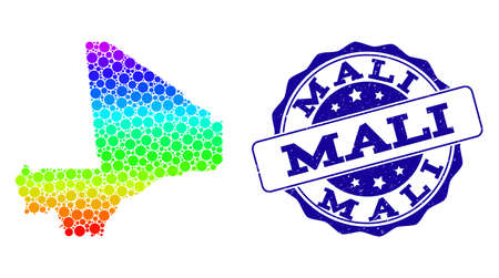 Dot spectrum map of Mali and blue grunge round stamp seal. Vector geographic map in bright spectrum gradient colors on a white background.