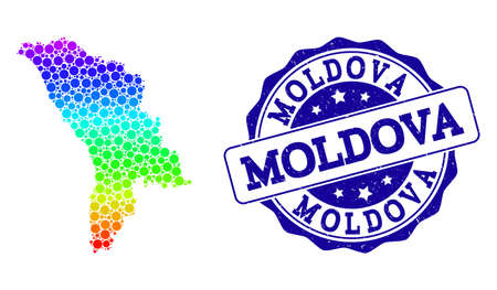 Dotted rainbow map of Moldova and blue grunge round stamp seal. Vector geographic map in bright spectrum gradient colors on a white background. Illustration