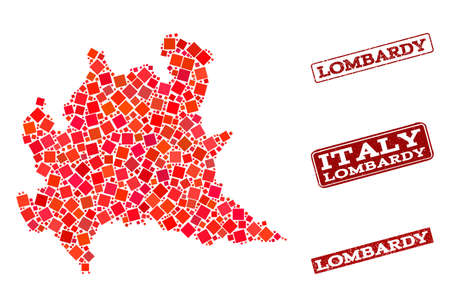 Geographic collage of dot mosaic map of Lombardy region and red rectangle grunge stamp watermarks. Vector map of Lombardy region designed with red square mosaic items.