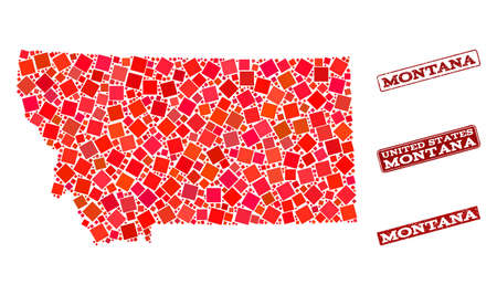 Geographic collage of dot mosaic map of Montana State and red rectangle grunge stamp imprints. Vector map of Montana State designed with red square mosaic items. Flat design for geographic purposes. Ilustração