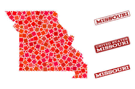 Geographic collage of dot mosaic map of Missouri State and red rectangle grunge stamp watermarks. Vector map of Missouri State created with red square mosaic items.