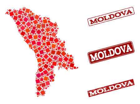 Geographic composition of dot mosaic map of Moldova and red rectangle grunge seal stamp watermarks. Vector map of Moldova composed with red square mosaic items. Vectores