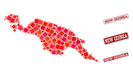 Geographic collage of dot mosaic map of New Guinea Island and red rectangle grunge seal imprints. Vector map of New Guinea Island composed with red square mosaic items. Vecteurs