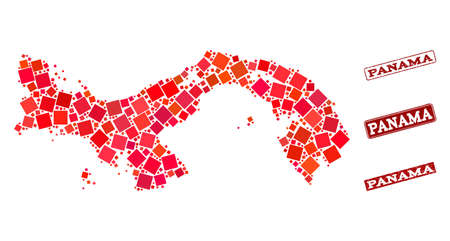 Geographic collage of dot mosaic map of Panama and red rectangle grunge seal watermarks. Vector map of Panama composed with red square mosaic items. Flat design for geographic illustrations. Ilustrace