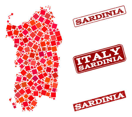 Geographic composition of dot mosaic map of Sardinia region and red rectangle grunge stamp imprints. Vector map of Sardinia region created with red square mosaic items. Çizim