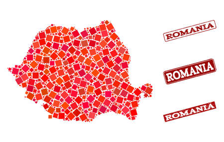Geographic combination of dot mosaic map of Romania and red rectangle grunge seal stamp imprints. Vector map of Romania formed with red square mosaic items. Flat design for political posters.