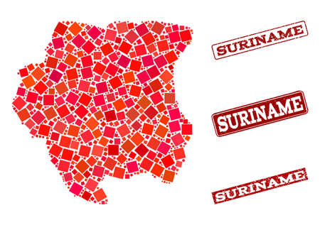 Geographic composition of dot mosaic map of Suriname and red rectangle grunge stamp watermarks. Vector map of Suriname designed with red square dots. Flat design for geographic illustrations.