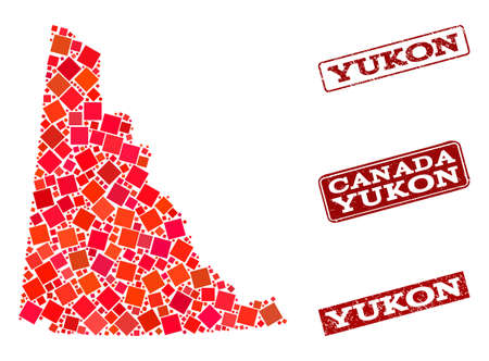 Geographic combination of dot mosaic map of Yukon Province and red rectangle grunge seal watermarks. Vector map of Yukon Province formed with red square mosaic items.