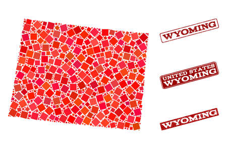 Geographic collage of dot mosaic map of Wyoming State and red rectangle grunge seal stamp watermarks. Vector map of Wyoming State composed with red square mosaic items.