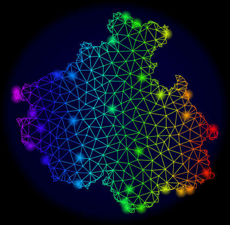 Bright rainbow mesh vector map of Altai Republic with glowing effect. Abstract lines, triangles, light spots forms map of Altai Republic on a dark background.  イラスト・ベクター素材