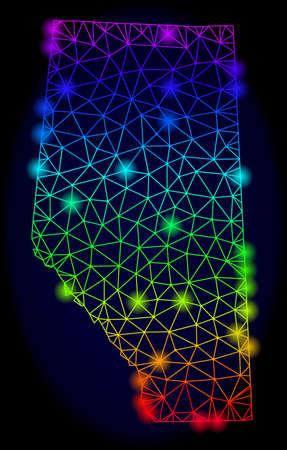 Bright rainbow mesh vector map of Alberta Province with glowing effect. Abstract lines, triangles, light spots forms map of Alberta Province on a dark background.  イラスト・ベクター素材