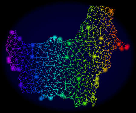 Glamour spectrum mesh vector map of Borneo Island with glowing effect. Abstract lines, triangles, light spots forms map of Borneo Island on a dark background.