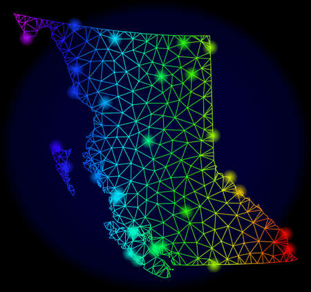 Bright spectrum mesh vector map of British Columbia Province with glow effect. Abstract lines, triangles, glare spots forms map of British Columbia Province on a dark background.