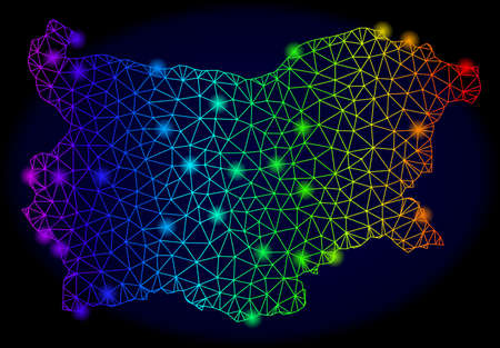 Bright spectrum mesh vector map of Bulgaria with glow effect. Abstract lines, triangles, light spots forms map of Bulgaria on a dark background.