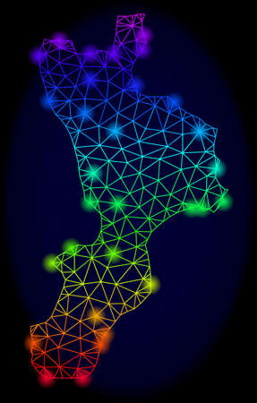 Bright spectrum mesh vector map of Calabria region with glare effect. Abstract lines, triangles, glare spots forms map of Calabria region on a dark background.