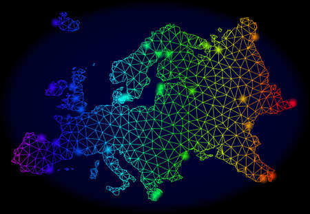 Glossy spectrum mesh vector map of Europe with glare effect. Abstract lines, triangles, glare spots forms map of Europe on a dark background. Mesh and glare elements are placed on different layers.