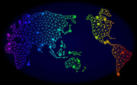 Glossy rainbow mesh vector map of Earth with glare effect. Abstract lines, triangles, glare spots forms map of Earth on a dark background. Mesh and glare elements are placed on different layers. Çizim