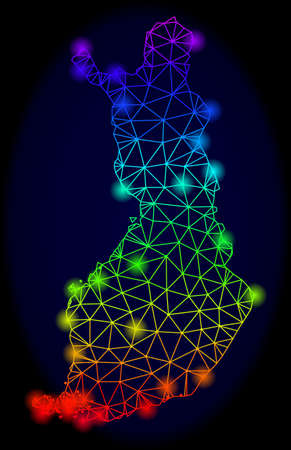 Bright spectrum mesh vector map of Finland with glowing effect. Abstract lines, triangles, light spots forms map of Finland on a dark background.