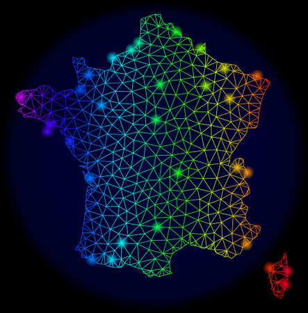 Bright spectrum mesh vector map of France with glare effect. Abstract lines, triangles, glare spots forms map of France on a dark background. Mesh and glare elements are placed on different layers.