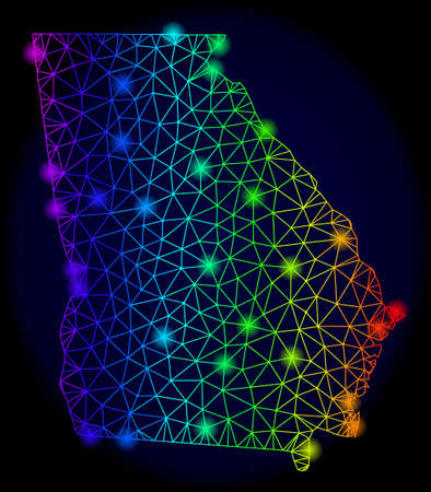 Bright rainbow mesh vector map of Georgia State with glare effect. Abstract lines, triangles, flash spots forms map of Georgia State on a dark background. Ilustracje wektorowe