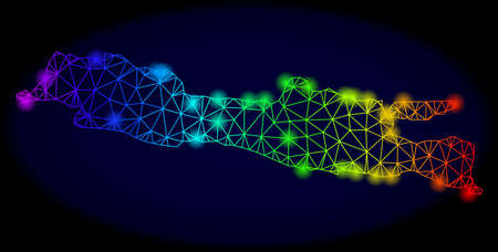 Bright rainbow mesh vector map of Java Island with glowing effect. Abstract lines, triangles, light spots forms map of Java Island on a dark background.
