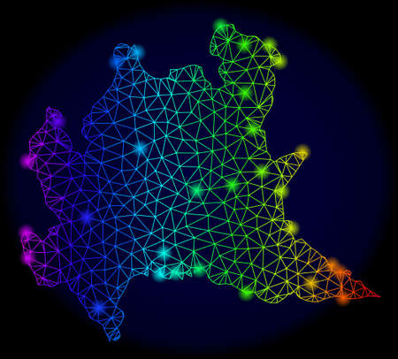Bright rainbow mesh vector map of Lombardy region with glare effect. Abstract lines, triangles, glare spots forms map of Lombardy region on a dark background. Иллюстрация