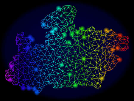 Bright rainbow mesh vector map of Madhya Pradesh State with glow effect. Abstract lines, triangles, glare spots forms map of Madhya Pradesh State on a dark background.