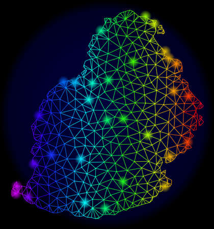 Glossy rainbow mesh vector map of Mauritius Island with glare effect. Abstract lines, triangles, light spots forms map of Mauritius Island on a dark background. Illustration