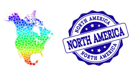 Dot spectrum map of North America and blue grunge round stamp seal. Vector geographic map in bright spectrum gradient colors on a white background.