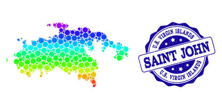 Dot spectrum map of Saint John Island and blue grunge round stamp seal. Vector geographic map in bright spectrum gradient colors on a white background.