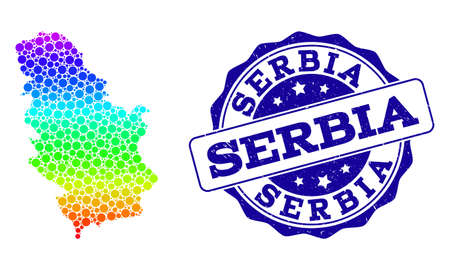 Dotted rainbow map of Serbia and blue grunge round stamp seal. Vector geographic map in bright rainbow gradient colors on a white background.