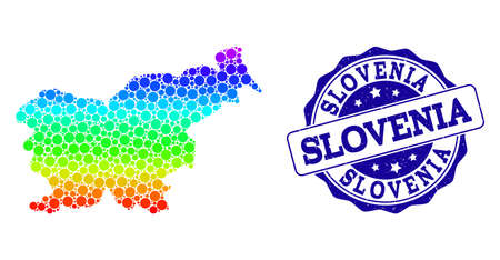 Dot rainbow map of Slovenia and blue grunge round stamp seal. Vector geographic map in bright rainbow gradient colors on a white background. 일러스트