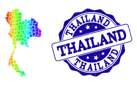 Dotted rainbow map of Thailand and blue grunge round stamp seal. Vector geographic map in bright rainbow gradient colors on a white background.