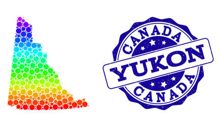 Dot spectrum map of Yukon Province and blue grunge round stamp seal. Vector geographic map in bright spectrum gradient colors on a white background.