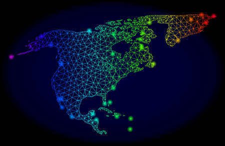 Bright spectrum mesh vector map of North America and Greenland with glowing effect. Abstract lines, triangles, glare spots forms map of North America and Greenland on a dark background. Vectores