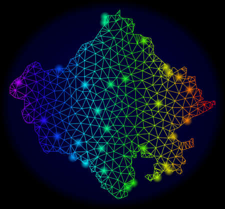 Bright spectrum mesh vector map of Rajasthan State with glow effect. Abstract lines, triangles, light spots forms map of Rajasthan State on a dark background.