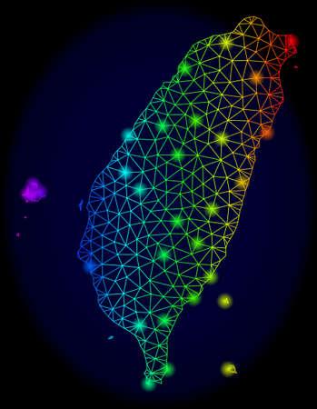 Carte vectorielle de maille arc-en-ciel lumineux de Taïwan avec effet d'éblouissement. Des lignes abstraites, des triangles, des taches d'éblouissement forment une carte de Taïwan sur un fond sombre. Les éléments de maillage et de spot lumineux sont placés sur des calques différents. Vecteurs